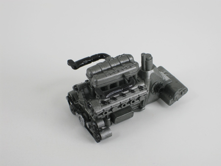model car engine after painting with flat acrylics