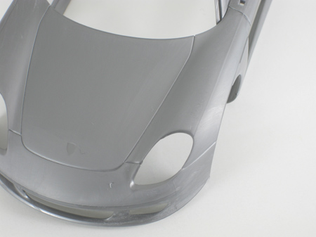 Porsche Carrera GT model car body after removing panel lines